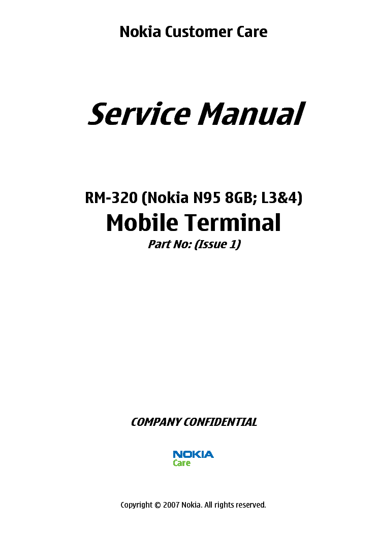 Service L34 Manual 8gb Rm-320 Schematics N95 Nokia Download